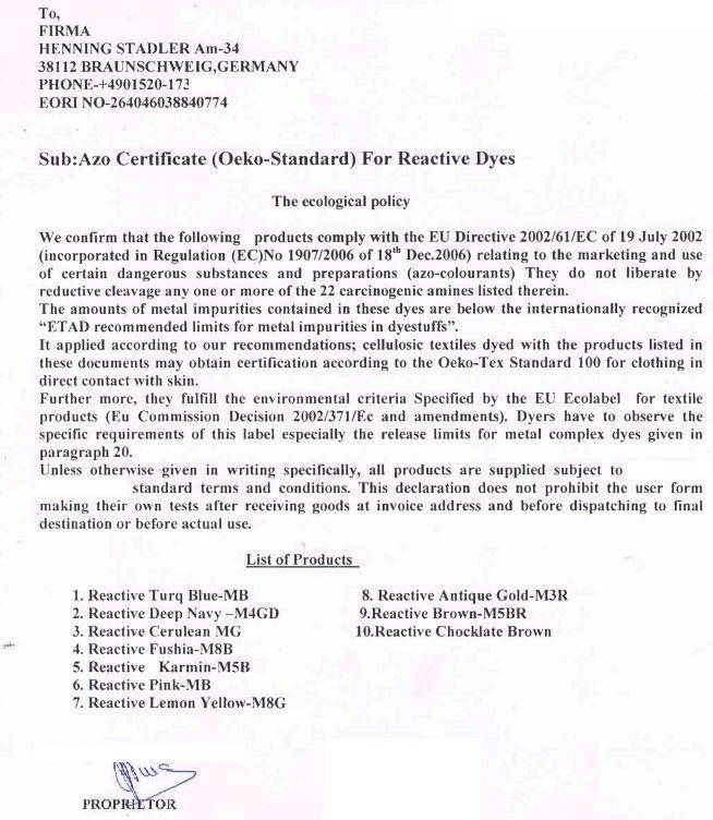 Sicherheitsdatenblätter/ Öko-Tex 100/ EU-Öko-Label/ Azo-Zertifikat ...